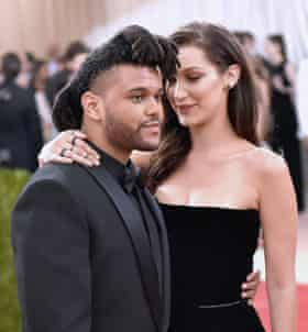Musician the Weeknd with on-off girlfriend model Bella Hadid