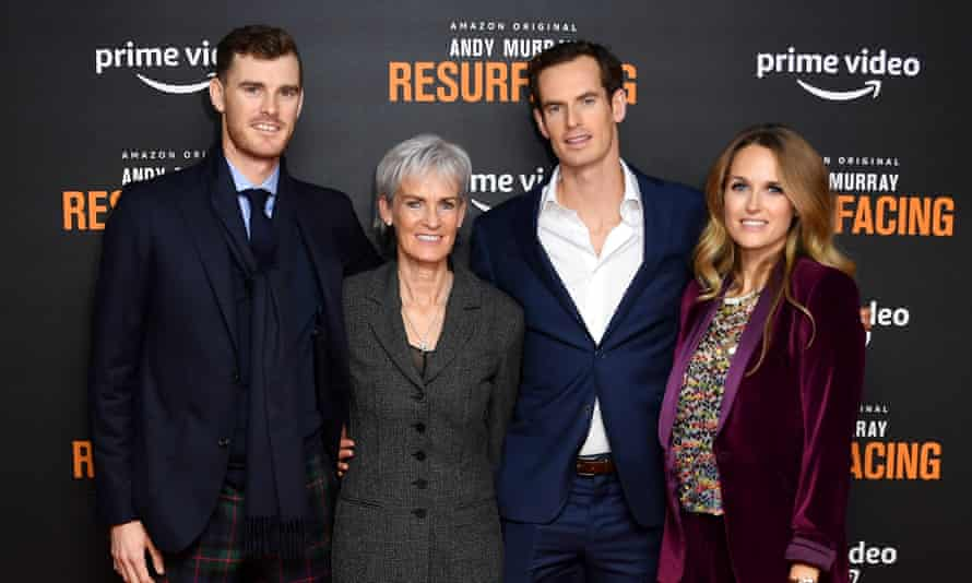 Andy Murray with his brother Jamie, his mother and Kim Sears, his wife, at the premiere of his new documentary.