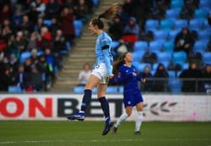 Tessa Wullaert celebrates scoring.