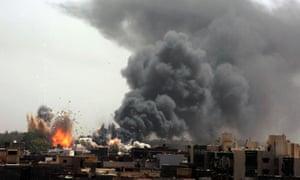 Nato coalition bombing in Tripoli