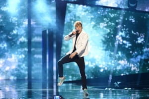 Donny Montell of Lithuania rehearses the song 'I've Been Waiting for This Night'