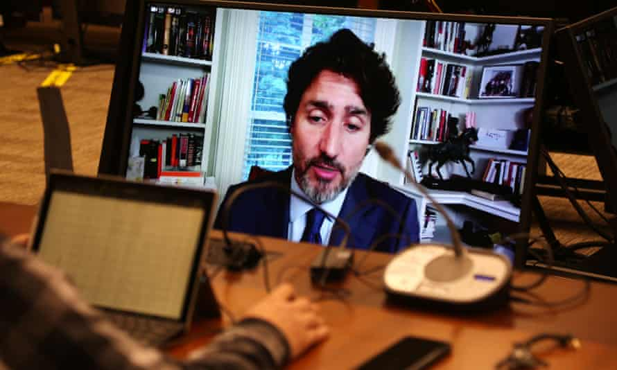 Justin Trudeau testifies via video conference to the House of Commons standing committee on finance on Thursday in Ottawa.