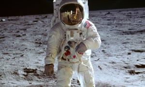 Neil Armstrong's photograph of Buzz Aldrin on the moon in a scene from the film Apollo 11
