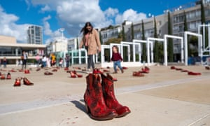 Red shoes on display in Tel Aviv as part of the protest calling for an end to violence against women.