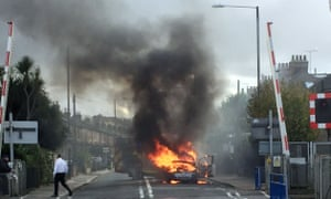 A Vauxhall Zafira burns in south-west London.
