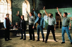 The Full Monty troupe … from Tom Wilkinson, William Snape, Robert Carlyle, Steve Huison, Hugo Speer, Paul Barber and Mark Addy.