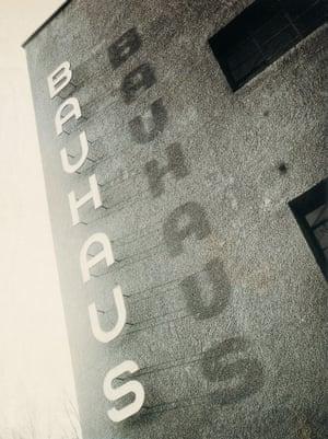 Bauhaus lettering on the façade of the Bauhaus building in Dessau, ca. 1930