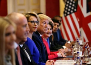 Trump attends a business roundtable meeting with the prime minister at St James's Palace