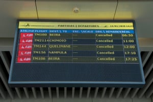 A departures board showing all flights cancelled at the Maputo International airport in Mozambique. Idai is the largest cyclone to hit the country in a decade.