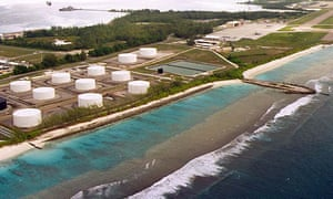Fuel tanks by a US military airstrip on Diego Garcia, the largest island in the Chagos archipelago.