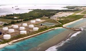 Fuel tanks on Diego Garcia, the largest island in the Chagos archipelago