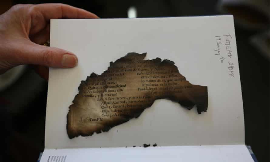 A burnt fragment of an antique book rescued from Clandon Park House