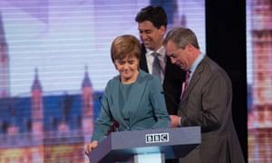 Nicola Sturgeon, Ed Miliband and Nigel Farage take part in the Live BBC Election Debate 2015.