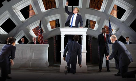 Gregg Henry, center, as Julius Caesar. The character bears a clear resemblance to the US president in the Public Theater's production.