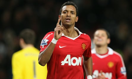 Nani after scoring for Manchester United in 2011. He struggled to get in the side after Sir Alex Ferguson's departure in 2013.