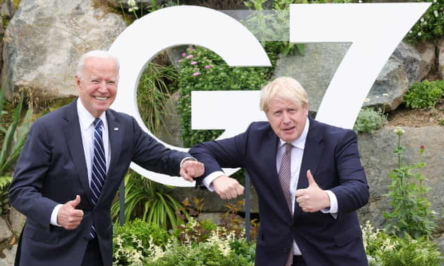 The British prime minister Boris Johnson (right) poses with the US president, Joe Biden, in Carbis Bay, Cornwall