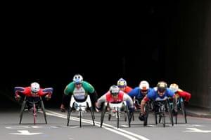 Japan's Hiroki Nishida in action during the men's wheelchair race