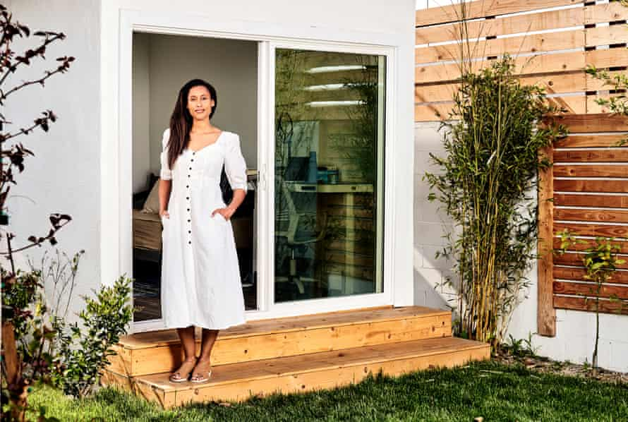 Anna Malaika NtiAsare-Tubbs, author, advocate, educator, and scholar, poses for a portrait in front of her backyard office at her home in South Los Angeles