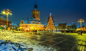 Christmas market with decorated tree in the city center, Brasov