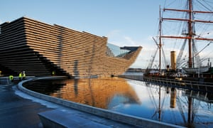 Workmen put the finishing touches to the surrounds of V&A Dundee, which opens next month.