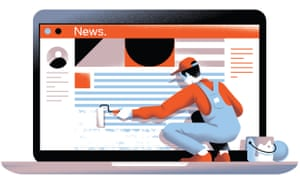 Illustration of man painting over news front page