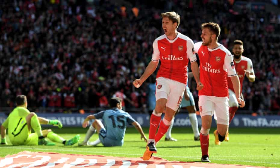 Nacho Monreal celebrates scoring against Manchester City in an FA Cup semi-final at Wembley in 2017