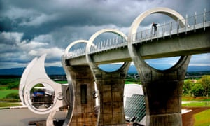 The Falkirk Wheel connecting the Union and Forth and Clyde canals.