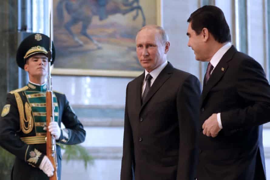 Russian president Vladimir Putin visits Turkmenistan's president Gurbanguly Berdimuhamedow in Ashgabat.