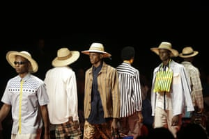 Modern Menswear Designer Laurence Airline showed a troop of models in contemporary menswear with multicultural influences - neck bag anyone?