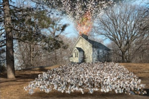 African Union Church, 2018. John Dowell depicts an African-American church amidst a field of cotton in a modern-day image of what was once called Seneca Village. Founded in 1825 by free black people, Seneca Village grew into the largest community of African-American property owners in NYC at that time. In 1857, the city government acquired all private property within Seneca Village through eminent domain, evicting all residents