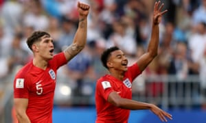 John Stones and Jesse Lingard celebrate after England's win over Sweden in Samara, Russia, on 7 July