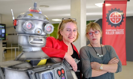 Mary Wareham, left, and Jody Williams of the Campaign to Stop Killer Robots with their mascot 'David Wreckham'.