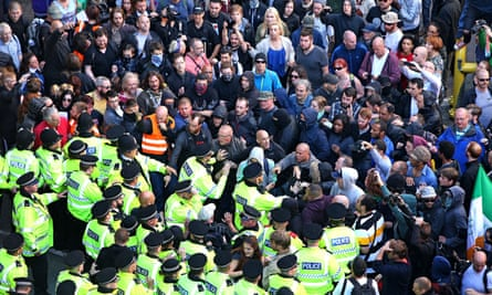 Police intervening during a National Action demonstration in Liverpool