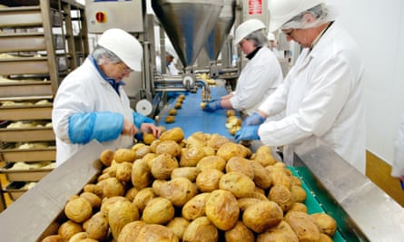 A baked potato production line in Newport, south Wales.