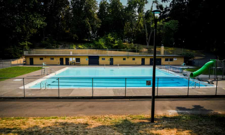 A county pool sits closed due to inclement weather, as a heat wave continues in Portland, Oregon