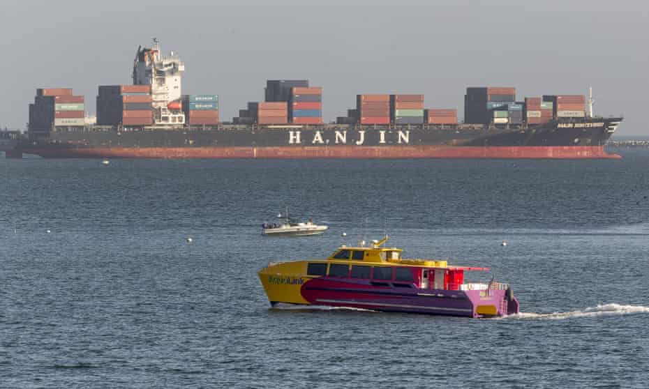 The Hanjin Montevideo anchored outside the Port of Long Beach, California, after the company went bankrupt.
