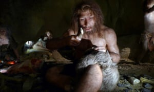 A museum exhibit of a Neanderthal family, who faced brutal winters.