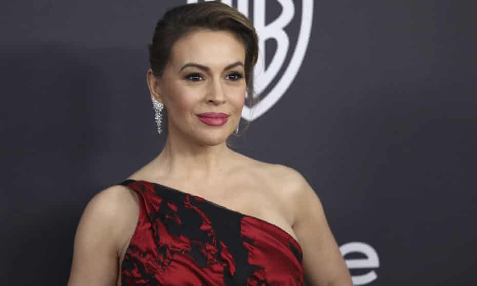 Alyssa Milano arrives at a Golden Globes afterparty in Beverly Hills in January.