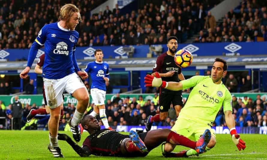 Everton's Tom Davies scores against Manchester City
