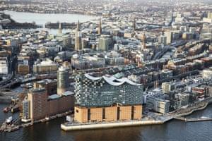 An aerial view of Hamburg's Elbphilharmonie.