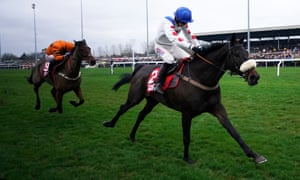 Harry Cobden rides Clan Des Obeaux to success in the King George VI Chase at Kempton Park.