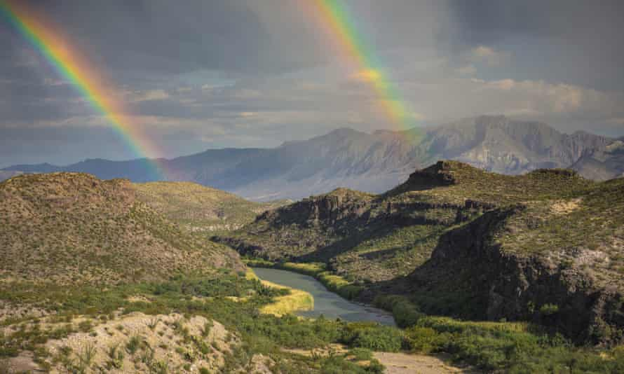 A double rainbow over Big Bend national park in Texas.