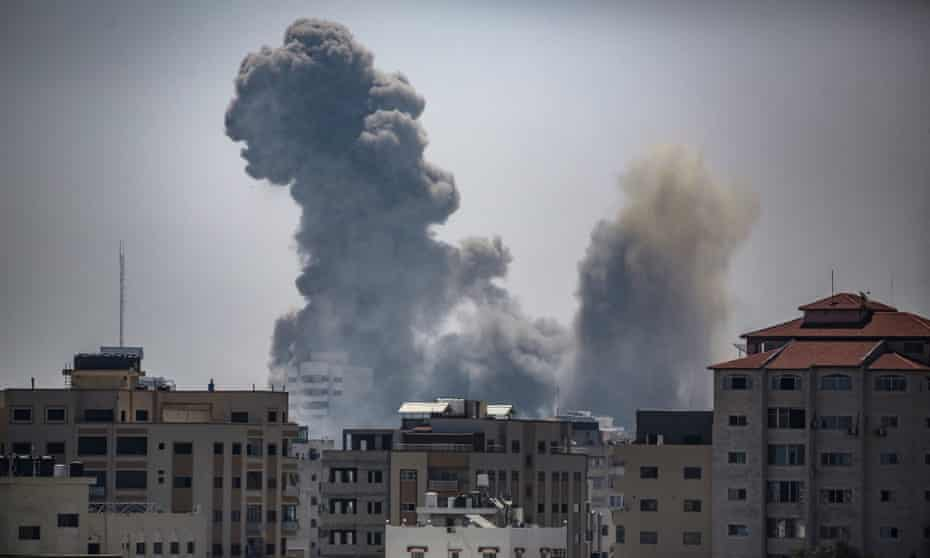 Smoke rises after an Israeli air strike in Gaza City. At least 181 Palestians have been killed in Israeli airstrikes in Gaza since the latest outbreak of violence.