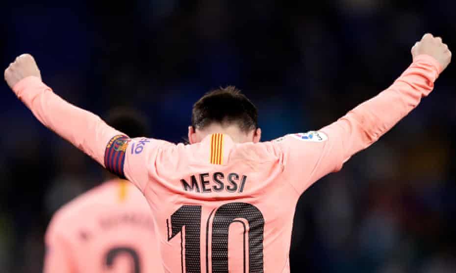 Lionel Messi of FC Barcelona celebrates after scoring against Espanyol.
