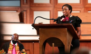 Jamila Thompson, deputy chief of staff for congressman Lewis, speaks during the funeral for the Civil Rights leader