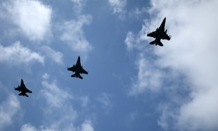 Air force jets in a training drill near the island of Crete, southern Greece.