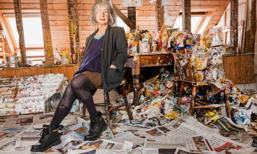 'The paintings used to pile up. Now they don't' …Wylie at her studio upstairs in her Kent cottage.