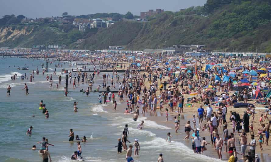 Crowds on Bournemouth beach, Dorset, on Bank Holiday Monday.