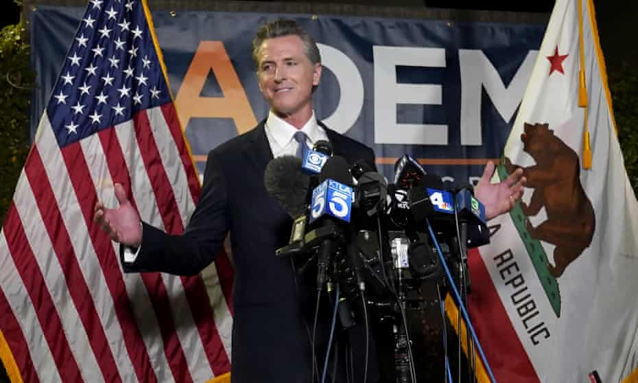 Governor Gavin Newsom celebrates victory in the California recall election.