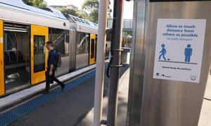 A Covid-19 advice sign at St Peters railway station in Sydney